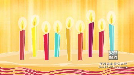 生日快乐宴会儿童卡通蜡烛气球蛋糕生日歌 LED电子大屏幕舞台KTV背景VJ视频素材20