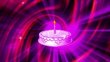魔幻扭曲螺旋纹理背景生日蛋糕蜡烛点燃庆祝贺寿舞台LED背景视频素材