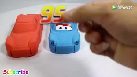 益智手工DIY: 太空沙彩泥做迪士尼闪电麦昆汽车 学习颜色