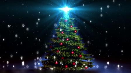 炫光圣诞树光效波点飘浮庆祝圣诞节场景舞台大屏幕视频素材
