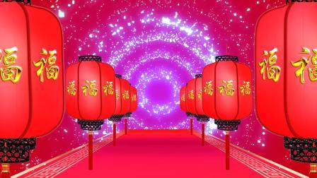 喜庆大红灯笼红地毯开场祝福梦幻粒子漩涡进场舞台背景视频素材