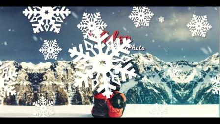 A2216 AE模板-温馨 雪花转场 平安夜 圣诞节主题 照片图片展示 电子相册
