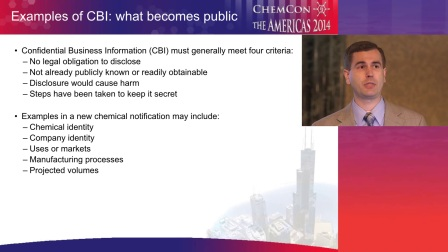 Examples of CBI in new chemical notifications by Jon Gerber of 3M