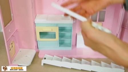 拆封组装芭比之梦想豪宅 芭比娃娃的粉红卧室