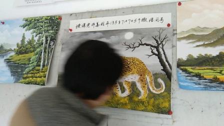 衢州画家珍艺坊画室姜战平示范水粉画豹子
