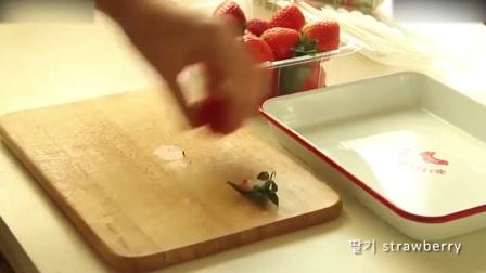 蛋糕裱花教学视频烘焙教学-颜值爆表的草莓鲜奶蛋糕打发淡奶油