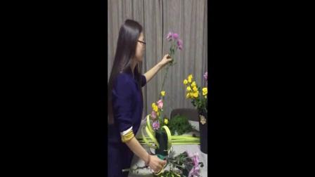中秋鲜花 花束包装教程 丝网花图片