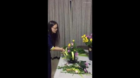 插花视频天元莎莎单面花束圆形花束课堂实况2014-5