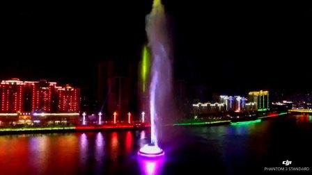 航拍亚洲第一高喷泉