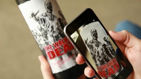 具有AR效果的Walking Dead葡萄酒标签