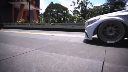 一群富二代拿奔驰AMG性能车玩姿态改装