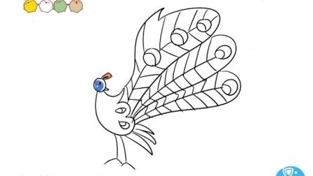 动物简笔画 孔雀 深海鱼-师讯简笔画