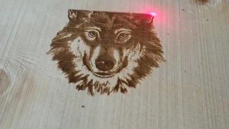 福斯特激光射频大打标机狼头图案木刻画雕刻
