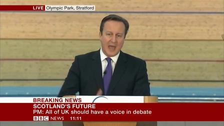 英国首相卡梅伦深情演讲挽留苏格兰1