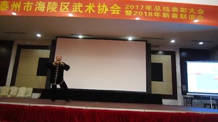 2018.02.04 泰州市海陵区武术协会年会李春林师父表演十三势