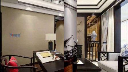 3室1厅96平米中式风格装修,恬静雅致!
