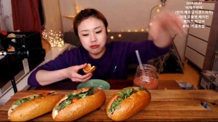 韩国吃播-挑食的新姐-20180307【越式法包、寿司、布丁】_美食圈_生活
