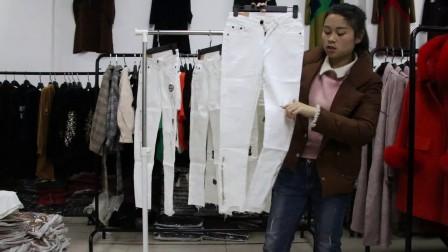 精品女装批发服装批发时尚春夏秋款女士纯白色小脚牛仔裤10件起批,可挑款零售混批