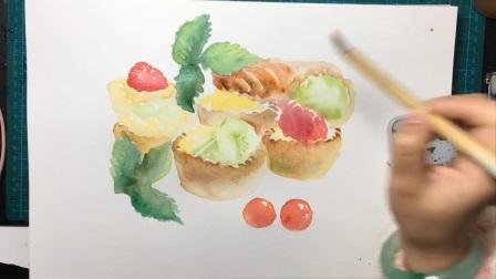 爱剪辑-水果蛋挞的水彩画法