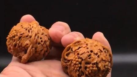 文玩核桃雕刻 葡萄葫芦 磨盘雕刻