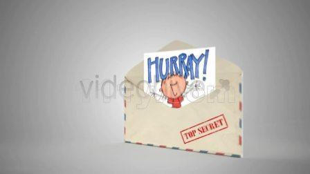 打开邮寄信封邀请函介绍信息动画视频制作AE模板