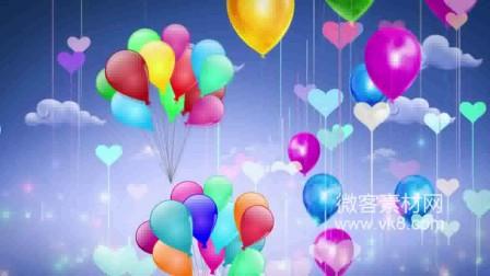 18sp417 彩色气球飘起卡通气球微客素材网实拍高清视频素材LED舞台背景视频免费素材
