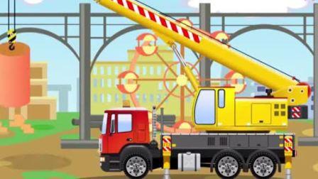 汽车城工程车动漫 组装一辆挖掘机与吊车土方车一起修建摩天轮和植树