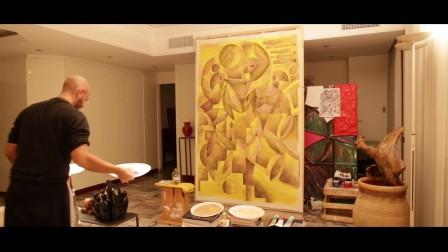 当代艺术画作 标题: 《三个男人》