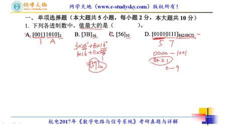 杭州电子科技大学杭电2017年849数字电路与信号系统考研真题答案与详解