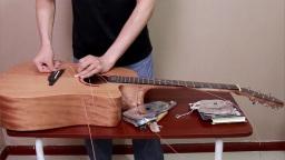 更换吉他弦 琴弦 民谣木吉他改装DIY换吉他弦 西安简单吉他