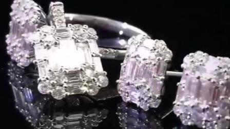 【DD珠宝】祖母绿形白钻、圆钻,拼镶定制耳钉&吊坠套装~