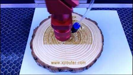 Laser machine engraving wood