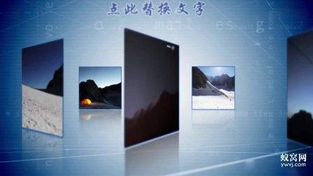 B935 AE模板 时尚简约大气蓝色背景图片产品相册文字翻转展示视频制作