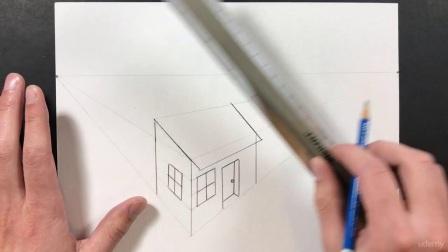 美术教程 (英文) 6-07,画一个两点透视图的房子和大厦