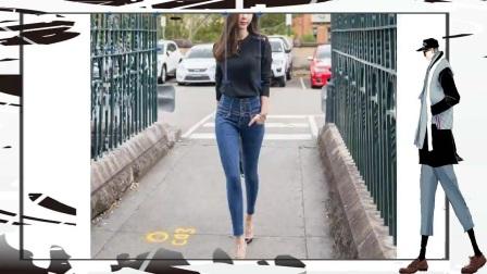 街拍牛仔裤美女轻松穿出优雅时尚风情!