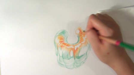 水溶性彩铅花卉视频教程——青椒的画法