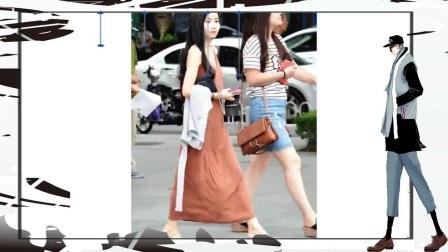 扬州街拍肉色开叉连衣裙的少妇,身材如此火辣,回头率100%