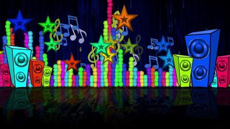摄图网-卡通音响五角星奏乐动态背景视频