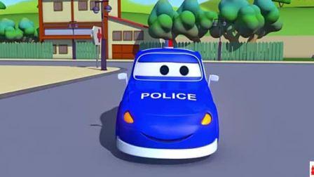 汽车总动员  超级变形卡车卡尔帮助警车追捕超速车 超级英雄赛车比赛