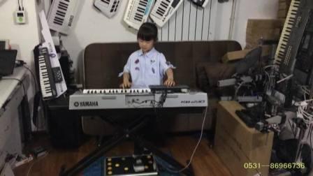 孙晴羽少儿便携双排三排键电子琴脚电子鼓中外名曲连奏