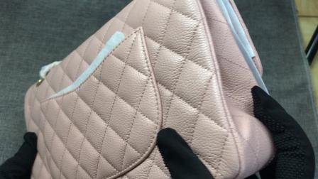 正品Chanel香奈儿新款牛皮菱格链条女包单肩斜跨时尚包包经典粉色