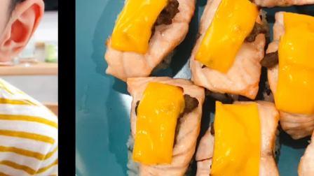 家庭版火炙芝士三文鱼寿司🍣没有火🍉用烤箱😋😋😋