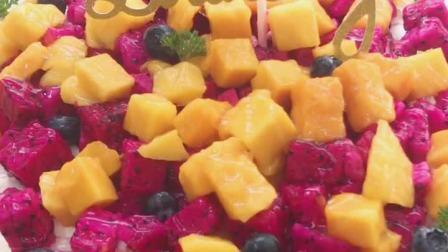 这款芒果红心火龙果的蛋糕, 天哪, 看了流口水有木有