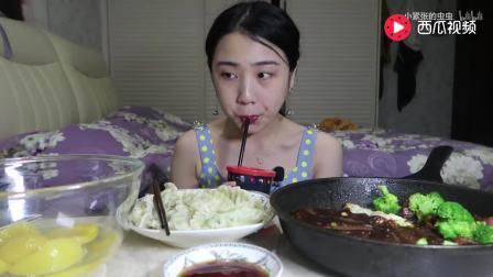 中国吃播, 大胃王美女自制自吃黑椒牛肉, 台湾烟熏香肠, 黄桃罐头~