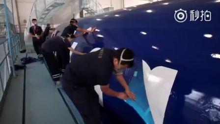 春秋航空缤客A320彩绘机喷漆过程