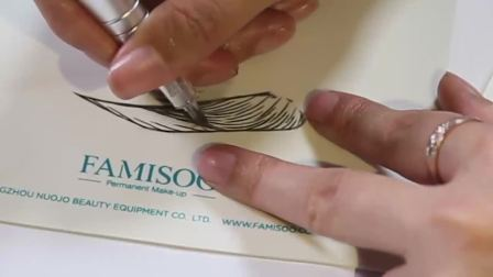 法米索纹绣入门教程06:机器做线条眉的手法和技巧