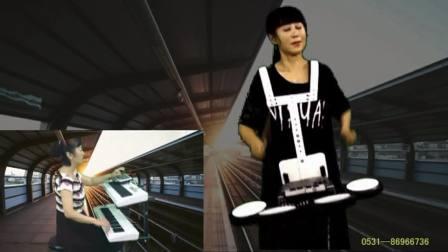 新站台丁悦背挎电子鼓爵士鼓架子鼓数码鼓三排键电子琴伴奏