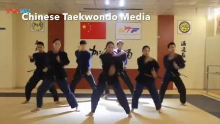 我在周杰伦《发如雪》跆拳道风格舞蹈, 可以说很有创意了!截了一段小视频