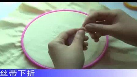 21乐陶陶丝带绣视频教程-折叠玫瑰花绣