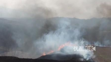 【拍客】清明节祭祀引发山火无人救援